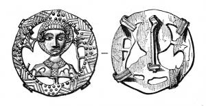 ESP-7074 - *  Teaches pilgrimage : Saint Quentin&#013&#013*  Bust face haloed head in openwork medallion identifies a headband covered with guilloche triangles ;  shoulders are pierced with nails, which corresponds to one of Quentin matyre of traditions.  On the reverse hairpin and four legs folded around the edge.