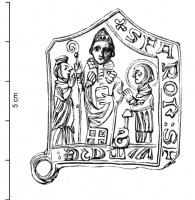ESP-9069 -  *  Iscriviti pellegrinaggio St. Fiacre San Faron&#013&#013 *  Teaches architectural form rings at the corners , in Saint Faron bishop , miter and crosier outward , holding a book against him , surrounded by two characters ( one with a halo and a spade : St. Fiacre ), which  crave , hands clasped .  Legend to right: FARON + S : S FIACRE :