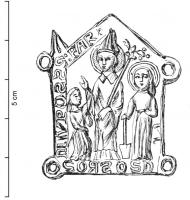 ESP-9070 -  *  Iscriviti pellegrinaggio St. Fiacre San Faron&#013&#013 *  Teaches architectural form rings at the corners , in Saint Faron bishop , miter and crosier outward observes angrily to his right a woman carrying a distaff , who raises his hand in a sign of protest (?) , On his left ,  haloed figure , holding a spade ( St. Fiacre ) .  Above the central character : S: FAR (it ) below and to the left , legends illegible ( probably mentioning St. Fiacre Houpdée ... VPDEE ) .