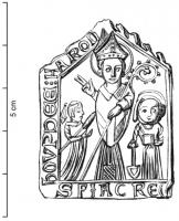 ESP-9071 -  *  Iscriviti pellegrinaggio St. Fiacre San Faron&#013&#013 *  Teaches architectural form ; St. Fiacre in bishop, wearing his miter , crozier outward , blesses the viewer while a woman with distaff ( Houpdée ) stands to the right , on his left , haloed figure , holding a spade  .  Legend down, SFIACRE ; above the central character , H FARON .  A left HOUPDEE .