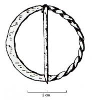 FER-7005 - *  fermail&#013&#013*  Ring with a flat half decor with incised lines , the other half being carree twisted- section ;  atop a narrowing serving axis barb.