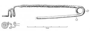 FIB-1099 - Brooch : violin bow&#013 *  Very tight skinny bow ( bow and parallel pin ) , sometimes round or square section , a coil spring unilateral ; door - pin consists of a simple spiral winding , bent to form the gutter and sometimes preceded by a serpentine pattern.  The bow can be made ​​of a smooth wire , or twisted .