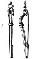 FIB-3856 -  *  Fibula nodo&#013 *  Bronze fibula at bilateral spring, four turns and internal chord ; tense bow section threadlike generally round , oval or lozenge sometimes interrupted by a ring or molded button reminiscent of the functional element of the La Tène II carrier  tongue triangular or trapezoidal , often perforated or fenestrated .