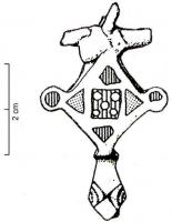 FIB-41022 - Brooch : enamelled&#013 *  Fibula hinge, the arc of which , consisting of a rhombic plate , is cut from a square central box and 4 boxes on each triangular side thereof ; foot head stylized reptile.