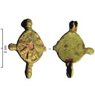 FIB-41108 - Brooch : symmetrical, enamelled&#013 *  Symmetrical circular fibula between four buttons molded body, the central unit comprises a central disc enamel , surrounded by a ring of triangular boxes also enamelled .