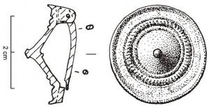 FIB-4113 -  *  conical fibula&#013 *  Conical fibula , including the hinge arranged side has two plates connected by a cast iron axle .  The simplest variant without protrusions on the perimeter and one or two circles guilloche in the flat part .
