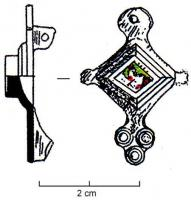 FIB-41186 - Brooch : enamelled&#013 *  Fibula asymmetric in lozenge bow storey , glazed on top of one or two diamond-shaped boxes , enamelled or simply oculés discs extend the lateral angles , a crenellated ring ( crown) or smooth head is found , the foot is made  oculé a pattern , consisting of three or peripheral discs , arranged in a triangle .