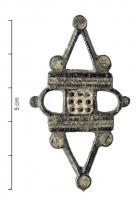FIB-41249 - Brooch : symmetrical, enamelled&#013 *  Apertured spindle , consists of a square main body , glazed, flanked by two bars decorated with a wavy line with circular arcs on the side , in the top and bottom , perforated triangles connecting discs enamelled .