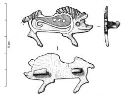 FIB-41272 -  *  Zoomorphic fibula : boar&#013 *  Pig right brawn clearly shown on the neck and back of the back , the body is hollowed with an enamel housing comprising a horizontal axle and reserves 3 points; spring joint mounted on a wafer .