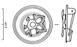 FIB-4128 - Brooch : circular&#013 *  Unglazed circular fibula , provided with a cut of radiating slots (like the F.19e type) with a central cabochon colored stone or glass paste collar .