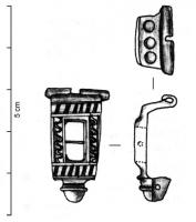 FIB-41318 - Brooch : enamelled&#013 *  Arc of rectangular openwork decoration with a transverse mounted on a shaft reported ( glass bead ?) Notches inlaid with niello foot and head molded foot single button.