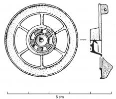 FIB-4137 - Brooch, skeuomorphic : wheel&#013 *  Fibula shaped 6-spoke wheel : the hub is shown full (and usually decorated with enamel) or hollow , and the spokes and the rim, which may have been enamelled .