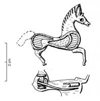 FIB-4330 - Brooch, zoomorphic : horse&#013 *  Brooch in the shape of horse right , the body dug several lodges enamel .  Hinge spring on axis.