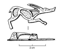 FIB-4331 - Brooch, zoomorphic : dog&#013 *  Fibula shaped dog or fox running right , long oblique ears, long tail upright , dug several lodges enamel body.