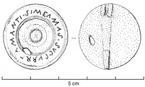 FIB-4432 -  *  fibula registered&#013 *  Circular brooch , decorated with concentric circles defining a smooth crown with inscription punctuated , tinning , two hinge plates .