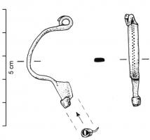 FIB-4487 -  *  Fibula Almgren 16&#013 *  Fibula arc flattened section solid or Lapped , typically with a double center line of alternating pits ; spring coils 4 and inner rope ; trapezoidal foot full , with a button terminal as an insert sleeve .