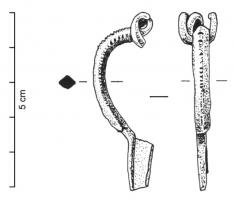 FIB-4488 -  *  Fibula Almgren 16&#013 *  Fibula rhombic arc section , typically with a double center line of alternating pits ; spring coils 4 and inner rope ; trapezoidal foot full , with a button terminal as an insert sleeve .