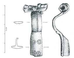 FIB-4611 -  *  Fibula tipo Augenfibel var .  prussiana&#013 *  Fibue flat arc , parallel edges , interrupted by an angle , the setting of a longitudinal line punctuation is then replaced by four ocelli ; spring external rope and claw .