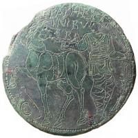 FIB-4644 -  *  Fibula in discoid engraved decoration&#013 *  Flat disk , tinned, with engraved decoration and punched a figurative kind : charioteer to his horse to the ground marked with a C scholarship , and above , and check the names of his mount : EPAPHRO ( ditus ) / IN / BVBA  ( lo ) .