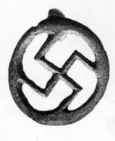 FIB-4705 -  *  Brooch in the shape of swastika ( Böhme 1210)&#013&#013 *  Bronze flat shaped swastika ( swastika ) in a circle , the reverse mounted spring plate .  The edges peuvenet be straight or chamfered.