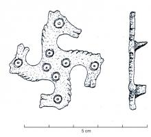FIB-4775 -  *  Brooch in the shape of swastika&#013&#013 *  Flat pin in the shape of swastika with four spikes are shaped horse head , eyes being indicated by incisions , or more often oculés circles.  Another often oculé circle marks the center of the object fixed on spring plate ( ? S) and elongate carrier notched pin in an oblique slot.