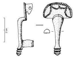 FIB-4785 -  *  Fibula Böhme 19&#013*  Knee fibula ( . All ' Kniefibel ') arc highly elbow to the head , spring mounted on board and protected by a plate sem- circular often with serious decor has tremolo ';  top and narrow door barb.