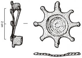 FIB-4831 - Brooch : flat geometric&#013 *  Fibula flat with the hinge located at the back with two plates connected by a cast iron axle .  Circular variant, sometimes decorated with concentric circles ( beadwork ) , frequently with a cabochon inlaid in the center; variant 8 protrusions star on the perimeter.