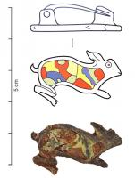 FIB-4916 -  *  Fibula zoomorfa : lepre&#013 *  Brooch in the shape of hare right , the body dug a large box with enamel glass inclusions ; variant characterized by a curved back, tail trumpet.