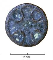 FIB-6020 -  *  Circular enamel brooch&#013 *  Circular brooch with enamelled decoration inscribed in a circle , divided with partitions placed on the glass still malleable .  The pattern forms a cross with slightly flared ends , the spandrels being reduced to filling shaped pelte , the reverse pivot pin holder and reported by soldering system.