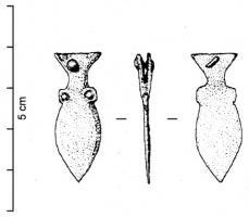 FRT-4033 -  *  Cintura Ferret&#013&#013 *  Ferret amphora-shaped , with a slotted top with a hole and the rivet for securing to the leather belt , the handles are marked by incisions undrilled but , no more decor .