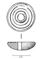 FUS-4009 -  *  whorl&#013&#013*  Spindle whorl has asymmetrical profile : one side is flat, adorned with concentric circles , the other is domed crown, often molded .