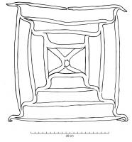 GRL-4001 -  *  grill&#013 *  Grill forged in one piece with four stubby legs and surafe of squares inscribed in the center a cross of St. Andrew .