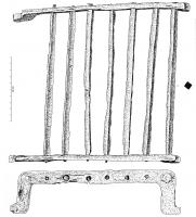 GRL-4002 -  *  grill&#013 *  Grill composite formed from two flat bands , arcuate U-shaped , the ends of which form feet 4 arranged in a square , the horizontal bars are connected by straight rods , of square section, which form the grill.