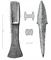HCH-1051 -  *  Ax heel: Breton kind without side ring&#013&#013 *  Ax blade tapered heel and narrower and slightly convex edge , slightly convex edges at the heel and at the concave blade ; heel angular grooves of trapezoidal cross section and ending with an abutment plane roughly forming an obtuse angle with  the gorges .  The side edges of the heel is low.  Type without side ring .