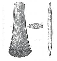 HCH-1067 -  *  Axe light edges : type Neyruz&#013&#013 *  Ax flat medium size, light edges that fade at the top and the edge ; concave edges ; subrectangular section with a slight bulge.