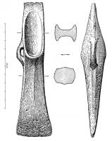 HCH-1075 -  *  Ax heel: Breton guy with side ring&#013&#013 *  Ax blade tapered heel and narrower and slightly convex edge , slightly convex edges at the heel and at the concave blade ; heel angular grooves of trapezoidal cross section and ending with an abutment plane roughly forming an obtuse angle with  the gorges .  The side edges of the heel is low.  Type with side ring .
