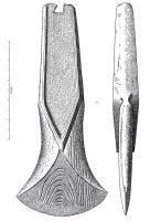 HCH-1094 -  *  Axe thrust angular heel&#013&#013 *  Axe thrust angular heel , usually narrow blade , decorated with an edge or midrib from the blade.