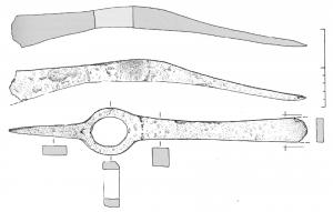 HOU-2001 -  *  Hoe- scegliere&#013 *  Hoe blade narrow , rectangular, with opposite a pick placed in a plane perpendicular ; eye fitting at an angle of about 135 ° with the blade of the hoe.