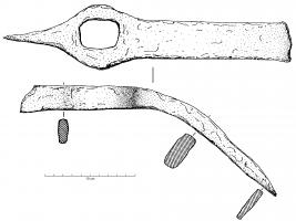HOU-4004 -  *  Hoe - pick&#013&#013 *  Hoe blade narrow , rectangular, with opposite a pick placed in a plane perpendicular ; eye fitting at an angle of about 135 ° with the blade of the hoe.