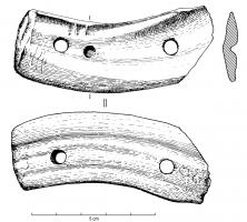 IND-4004 -  *  Barrette breakthrough&#013&#013 *  Flat strip ( cut from the enamel of a tooth or animal bone in a large mammal tubular section ) curve and two holes at opposite ends.