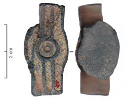 JHA-4025 -  *  Dal cablaggio&#013 *  From lying (central circle extended by fins ) , whose outer surface is dug parallel enamelled boxes , the reverse sleeve flat on the axis of the object.