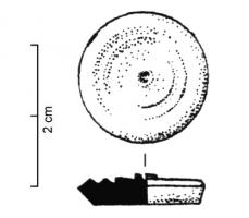 JTN-4011 -  *  token&#013&#013 *  Circular token ( . Diam. 17mm c ) , oblique slice ; upper face recessed from February to April oblique V -grooves , with the center higher nipple.