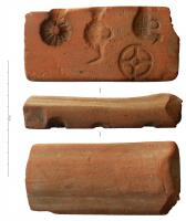 MOU-3008 - *  Mold : amulets&#013*  Mold scrap in a cove amphora Dr. 1 , with several impressions for casting lightweight hollow of different objects.