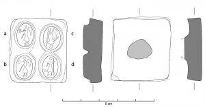 MOU-4024 -  *  Punch intagli muffa&#013 *  Tool relief ( positive ) to mass produce molds intaglios certainly intended to be cast in glass paste : rectangular block of clay, with a pin at the back , with four oval intaglio images juxtaposed .