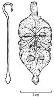 PDH-4035 - Harness pendant : hook&#013 *  Harness for foliaceus ballast hook and onion-shaped , which narrow the body is separated into two parts by a pair of protrusions florets ; pelte shaped openings ( two or three superimposed Pair) Phillips and punched pattern;  frequent tin or enamel reported in some hollow decorations.