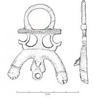 PDH-4050 -  *  For harness phallic&#013 *  For cast , representing male genitals at rest, shown schematically (small suspension ring for a while in the testes ) , surmounted by two appendices directed downward : a hand making the gesture of fig and a phallus above , wholesale  suspension ring preceded by a perforated plate Peltes two .