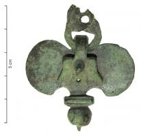 PDH-4099 - Harness pendant : hook&#013 *  During wing , bird-shaped hook , full body with wings .  Type whose base ( onion bulb ballast ) is preceded by a transverse plate , often molded .