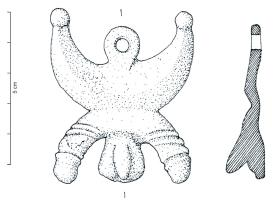 PDH-4111 - *  During harness phallic&#013 *  For cast , symmetrical, representing over male genitals resting a phallus on one side, the other arm with a hand making the gesture of the fig (sometimes very schematically ) suspension ring placed in the same  map as pendant, ring and indérieur additional thinking .