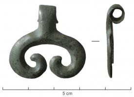 PDQ-1035 - Pendant, lunula shape&#013 *  Pendant in the lunula , formed of a flat bar on the reverse, in crosses with curved ends , but open at the top and provided with a suspension wound on itself .