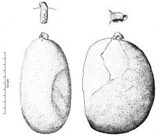 PDS-2001 -  *  weight&#013 *  Ovoid weight, often pear-shaped, more or less regular (but shaped ), whose summit was drilled and fitted with a suspension ring iron .